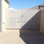 Double White Slat Gates